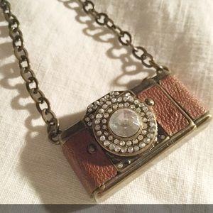 Vintage-Look Miniature CAMERA Necklace w/ Crystals